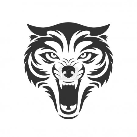 Wolf bares its teeth. Wolf head logo or icon.