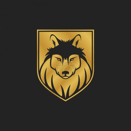 Dog or wolf head logo or icon in one color. Golden shield.