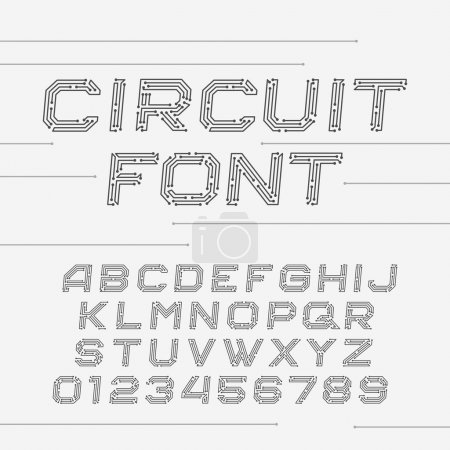 Illustration for Circuit board font. Vector Alphabet. Digital hi-tech style oblique letters and numbers. - Royalty Free Image