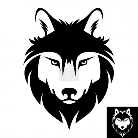Photo for This is a Wolf head logo or icon in black and white. This is vector illustration ideal for a mascot and T-shirt graphic. Inversion version included. - Royalty Free Image