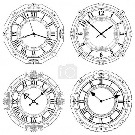 Illustration for Editable Clock, easily remove and replace hands and design. - Royalty Free Image