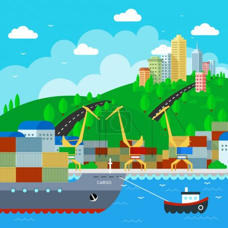 Commercial Dock in flat style design. Vector Illustration