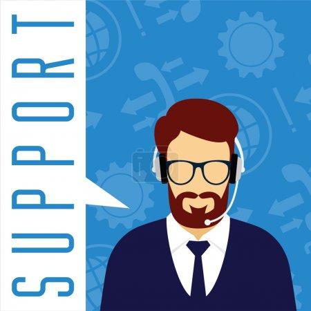 Illustration pour Concept de support technique. Avatar masculin avec un casque sur fond de symbole . - image libre de droit