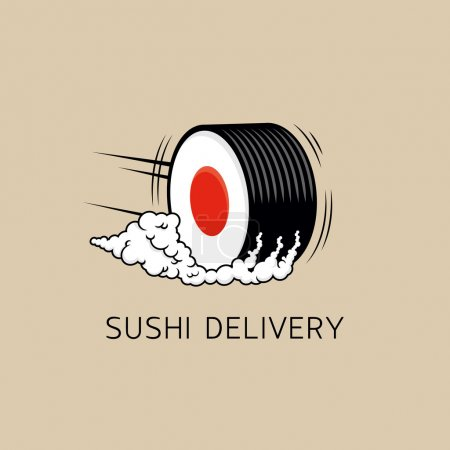 Sushi delivery logo template (concept). Vector illustration.