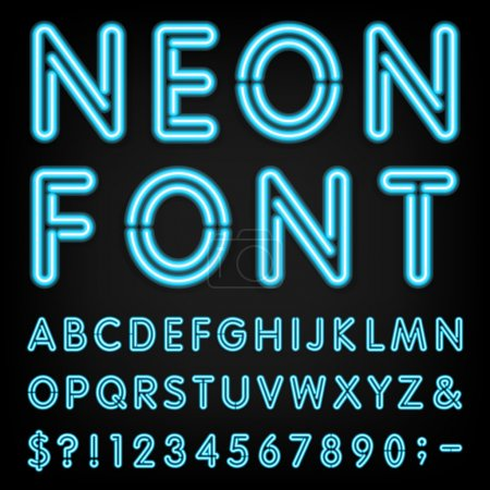 Illustration for Type letters, numbers and punctuation marks. Neon tube letters on dark background - Royalty Free Image