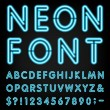 Type letters, numbers and punctuation marks. Neon ...