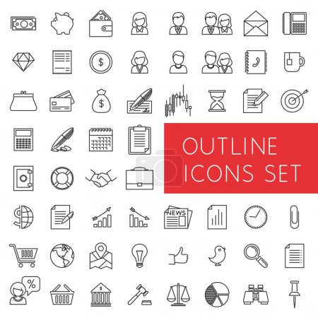 Illustration for Line icons of money, finance and electronic commerce, banking services and payments, office and human resources, etc. - Royalty Free Image
