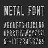 Metal Beveled Narrow Font Vector Alphabet