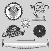 Vintage set of carpentry logos labels and design elements Stock vector