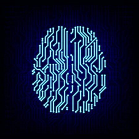 Circuit board brain concept. Vector illustration.