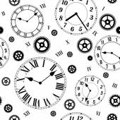 Clocks and gears vector seamless pattern Black and white colors