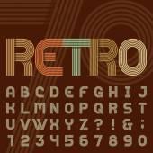 Retro style stripe alphabet vector font