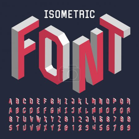 Illustration for 3d isometric alphabet vector font. Isometric letters, numbers and symbols. Three-Dimensional stock vector typography for headlines, posters etc. - Royalty Free Image