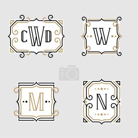 The set of stylish retro monogram emblem templates