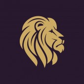Lion head logo or icon in one color