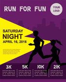 Running marathon people run colorful poster design Night run