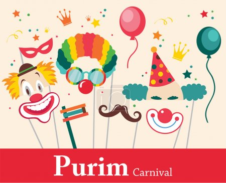 Illustration for Design for Jewish holiday  Purim with masks and traditional props. Vector illustration - Royalty Free Image