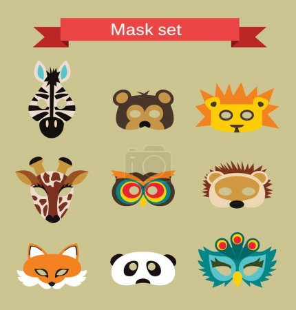 Illustration for Set of animal masks  for costume Party - Royalty Free Image