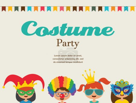 Illustration for Invitation for  costume party. Kids wearing different costumes - Royalty Free Image