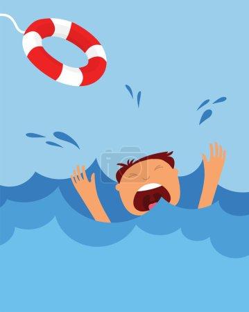 Illustration for Drowning man screaming  for help. summer danger - Royalty Free Image