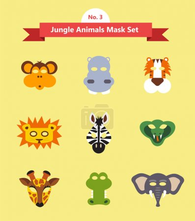 Illustration for Set of animal masks . set 3. jungle animals . vector illustration - Royalty Free Image
