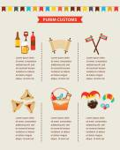 symbols of Jewish holiday purim infographics design