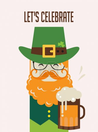 Illustration for Irish man with beer, St. Patrick s Day design - Royalty Free Image