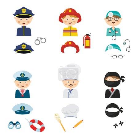 Illustration pour Les enfants portant des costumes différents. professions, animaux et princesses. illustration vectorielle - image libre de droit