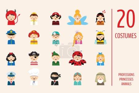 Photo pour Les enfants portant des costumes différents. professions, animaux et princesses. illustration vectorielle - image libre de droit