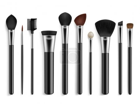 Illustration for Makeup brushes. Realistic professional visagiste tools. Isolated 3D various accessories for cosmetics. Face powder and foundation paintbrushes. Eyeshadow applicators. Vector beauty equipment set - Royalty Free Image