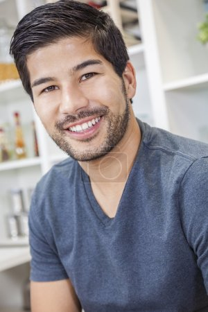 Photo for Portrait of handsome smiling young Asian man with a beard - Royalty Free Image