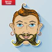 Vector cartoon image of the human head on the hipster fashion painted by hand Styling and creative style exaggeration