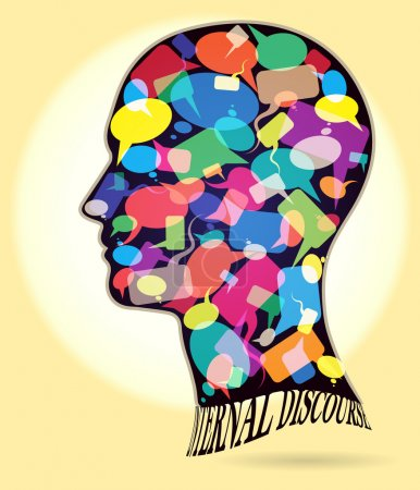 Illustration for Profile of a man with many colorful thought bubbles - Royalty Free Image