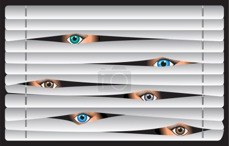 Illustration for Eyes of the beholder, spying, watching through the blinds - Royalty Free Image