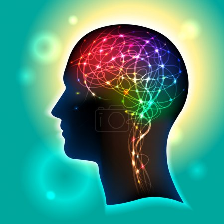Illustration for Profile of a human head with a colorful symbol of neurons in the brain - Royalty Free Image