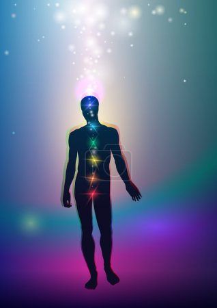 """Illustration pour La vue ésotérique de la connexion de l'homme avec le cosmos à travers le """"cordon astral"""" """". - image libre de droit"""