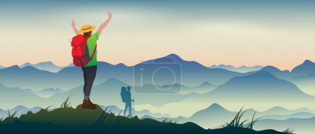 Illustration for The real picture of happy tourists with backpacks on the background of a mountain landscape. - Royalty Free Image