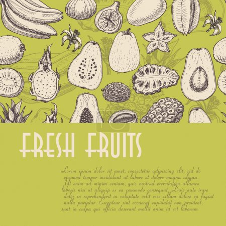 Seamless background with fruits, which is ideal for the restaurant industry and markets