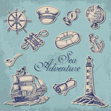 Photo pour Collection d'autocollants avec sujets maritimes en style croquis. Illustration vectorielle pour votre design - image libre de droit