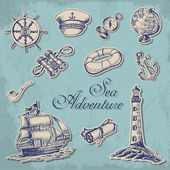 Collection of stickers with maritime subjects in sketch style Vector  illustration for your design