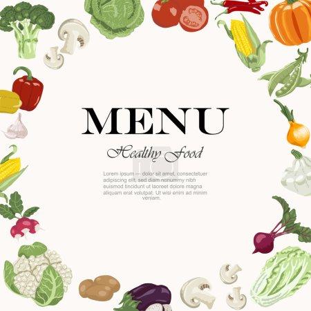 Illustration pour Des repas végétariens sont disponibles. Fond végétal avec une inscription au centre - image libre de droit