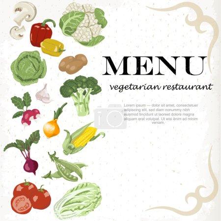 Illustration pour Des repas végétariens sont disponibles. Légumes de fond - image libre de droit