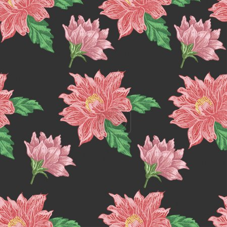 Seamless pattern with red flowers on a dark background