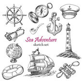 Vector collection of Sea Adventure in sketch style Vector illustration for your design