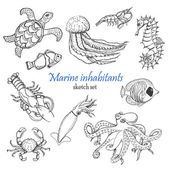 Vector collection of sea inhabitants in sketch style Vector illustration for your design