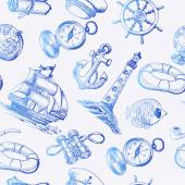 Seamless pattern with Sea Adventure elements in sketch style Vector illustration for your design