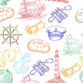 Seamless pattern with colored Sea Adventure elements in sketch style Vector illustration for your design
