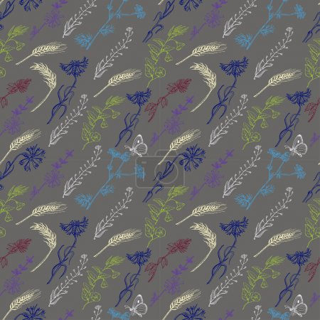Seamless pattern with wild plants on a gray background