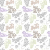 Seamless pattern with grapes leaves and branches