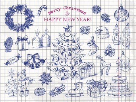 Photo pour Grand ensemble de décorations de Noël en style croquis sur papier. Illustration vectorielle pour votre design - image libre de droit